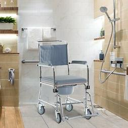 Rolling Shower Wheel Chair w/ Bariatric Removable Bucket & S