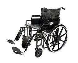 "Self Propelling Manual 24"" Seat Bariatric Wheelchair with El"