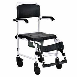 Giantex Shower Wheelchair Over Toilet with Commode Lift Arms