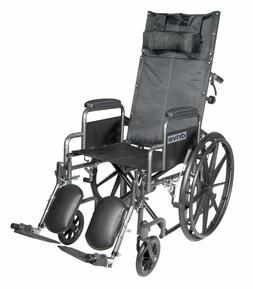 DRIVE MEDICAL SILVER SPORT RECLINING HIGH BACK WHEELCHAIR WI