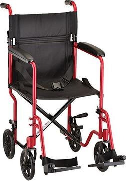 "NOVA Medical Products 19"" Steel Transport Wheelchair, Red"