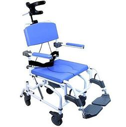 "Tilt Shower Commode Bath Toilet Transport Chair with 5"" cast"