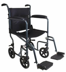Carex Lightweight Transport Wheelchair - 19 Inch Seat - Fold