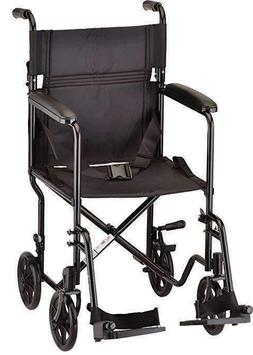Nova Transport Chair With Swing Away Footrests, 19 inch, Bla