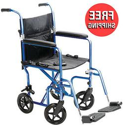 Carex Transport Wheelchair - 19 inch Seat - Folding Transpor