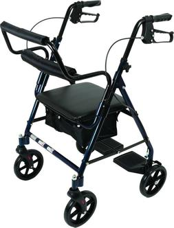 Transport Rollator wheelchair with Padded Seat and Basket, B