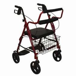 """Roscoe Transport Rollator 8"""" Wheels with Padded Seat and Bas"""