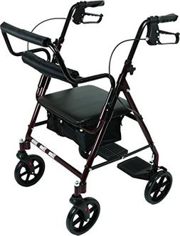 Transport Rollator with Padded Seat, Fold Up Seat, 8 Inch Wh