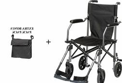 "Transport Wheelchair Lightweight 19"" W/swingaway Legrests &"