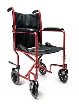 Transport Wheelchair - Lightweight Aluminum - RED