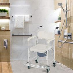 Transport Wheelchair Toilet Seat Shower Thick Padded Locking