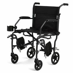 Medline Ultralight Transport Mobility Wheelchair with 19""