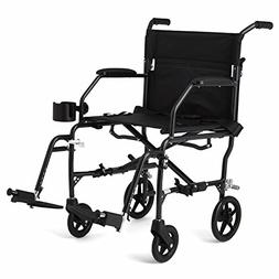 "Medline Ultralight Transport Mobility Wheelchair, 19"" Wide"