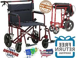 "WIDE SEAT 22"" IN Transport Wheelchair Lightweight Folding"