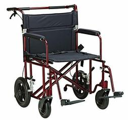 "WIDE SEAT 22"" Transport Wheelchair Lightweight Folding Whe"
