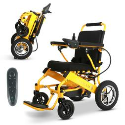 Yellow Foldable Electric Remote Control Wheelchair Medical M